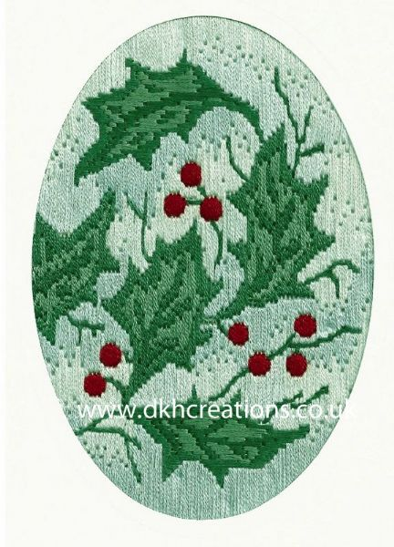 Holly Leaves Christmas Greetings Long Stitch Card Kit